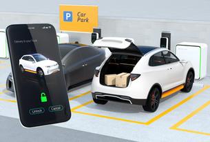 スマホの専用アプリで車のトランクを開け、車内配達サービスを行う。ラストワンマイルのコンセプトの写真素材 [FYI04647189]
