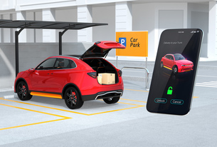 スマホの専用アプリで車のトランクを開け、車内配達サービスを行う。ラストワンマイルのコンセプトの写真素材 [FYI04647190]