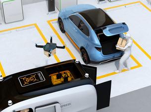 駐車場に配達員が車のトランクを開け、車内配達する同時にドローンも配達する。ラストワンマイルコンセプトの写真素材 [FYI04647196]