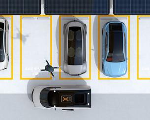 配達中の宅配車の天井から飛び立つ配達ドローンの鳥瞰イメージ。ラストワンマイルコンセプトの写真素材 [FYI04647211]