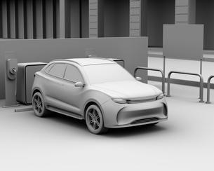 カーシェアリング専用駐車場に充電している電動SUVのクレイシェーディングイメージの写真素材 [FYI04647213]