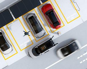 配達中の宅配車の天井から飛び立つ配達ドローンの鳥瞰イメージ。ラストワンマイルコンセプトの写真素材 [FYI04647215]