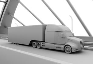 高速道路に隊列走行中の燃料電池トラックのクレイレンダリングイメージの写真素材 [FYI04647217]