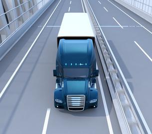 道路橋に走行している青色燃料電池トラックのイメージの写真素材 [FYI04647219]