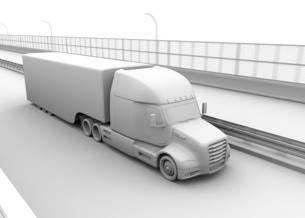 高速道路に隊列走行している燃料電池トラックのクレイレンダリングイメージの写真素材 [FYI04647224]