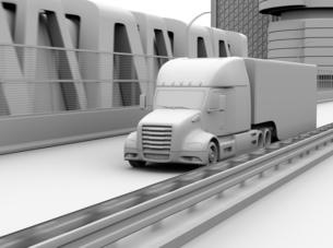 高速道路に走行している燃料電池トラックのクレイレンダリングイメージの写真素材 [FYI04647227]