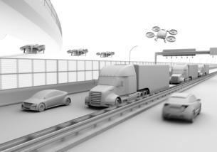 高速道路に走行している燃料電池トラック、配達ドローンと空飛ぶ車のクレイレンダリングイメージの写真素材 [FYI04647232]