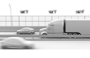 高速道路に走行している燃料電池トラック、上空に配達ドローンのクレイレンダリングイメージの写真素材 [FYI04647236]