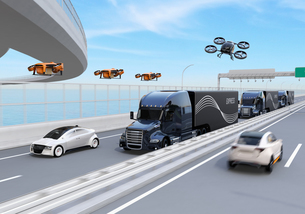 高速道路に隊列走行している燃料電池トラック、配達ドローンと空飛ぶ車のイメージ。物流コンセプトの写真素材 [FYI04647237]