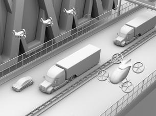 高速道路に隊列走行している燃料電池トラック、配達ドローンと空飛ぶ車のクレイレンダリングイメージの写真素材 [FYI04647241]