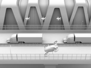 高速道路に隊列走行している燃料電池トラック、配達ドローンと空飛ぶ車のクレイレンダリングイメージの写真素材 [FYI04647243]