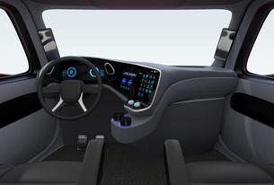 電動トラックのインテリアイメージ。デジタルインパネとタッチディスプレイが備えているの写真素材 [FYI04647263]