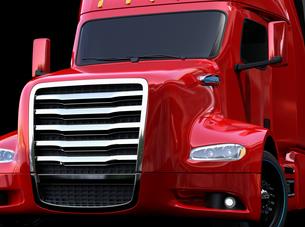 黒バックに赤色の北米仕様燃料電池電動トラックのクローズアップ正面イメージの写真素材 [FYI04647268]
