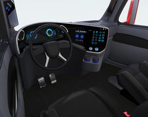 電動トラックのインテリアイメージ。デジタルインパネとタッチディスプレイが備えているの写真素材 [FYI04647280]