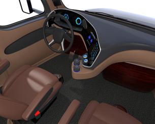 高速道路に走行している自動運転トラックの運手席からみるイメージ。の写真素材 [FYI04647285]