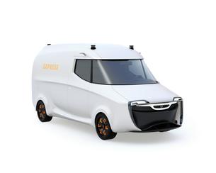 白バックに白色自動運転の電動配送ミニバンのイメージの写真素材 [FYI04647299]