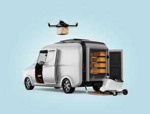 宅配ドローン、デリバリーロボット、電動宅配車のイメージ。ラストワンマイルのコンセプトの写真素材 [FYI04647321]
