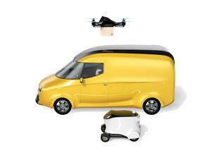 宅配ドローン、デリバリーロボット、電動宅配車のイメージ。ラストワンマイルのコンセプトの写真素材 [FYI04647322]