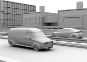 高速道路に走行している自動運転電動宅配車のクレイレンダリングイメージの写真素材 [FYI04647332]
