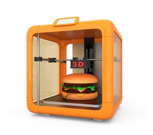 3Dプリンタでハンバーガーを作るの写真素材 [FYI04647334]
