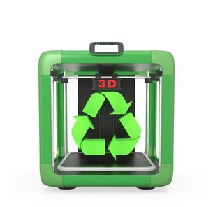 3Dプリンタとリサイクルマーク、リサイクル材料使用のコンセプトの写真素材 [FYI04647347]