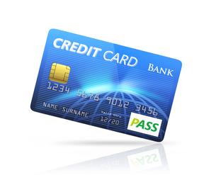 青色のクレジットカードの写真素材 [FYI04647351]