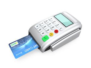 クレジットカード決済用端末でカードをスキャンするの写真素材 [FYI04647361]