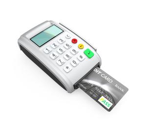 クレジットカード決済用端末でカードをスキャンするの写真素材 [FYI04647364]