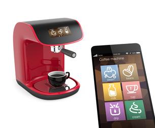 タッチスマホ用コーヒーメーカー制御アプリコンセプトの写真素材 [FYI04647366]