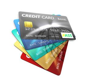カラフルなクレジットカードの写真素材 [FYI04647369]