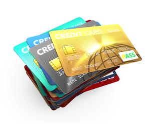 カラフルなクレジットカードの写真素材 [FYI04647371]