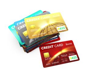 カラフルなクレジットカードの写真素材 [FYI04647373]