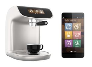 タッチスマホ用コーヒーメーカー制御アプリコンセプトの写真素材 [FYI04647385]