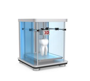 3Dプリンタで生体をプリントするデジタルデンティストリーコンセプトの写真素材 [FYI04647387]