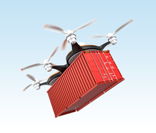 コンテナを配送可能な無人機の写真素材 [FYI04647393]