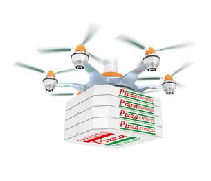 ドローンによるピザの配送の写真素材 [FYI04647397]