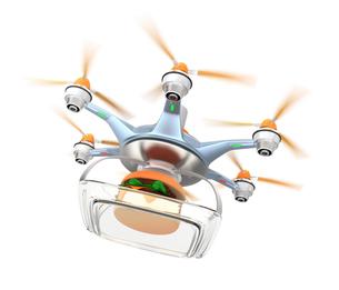 ドローンによるハンバーガー外食の配送の写真素材 [FYI04647399]
