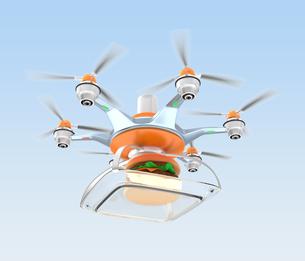 ドローンによるハンバーガー外食の配送の写真素材 [FYI04647400]