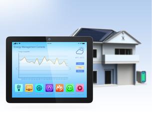 スマートホームエネルギー管理タブレットアプリの写真素材 [FYI04647407]