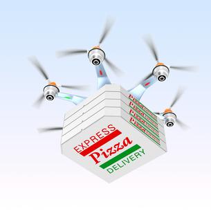 ドローンによるピザの配送の写真素材 [FYI04647409]