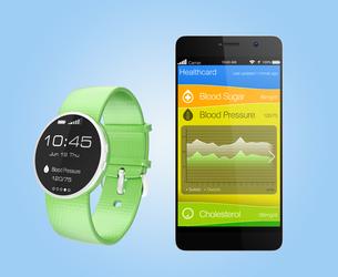 スマートウォッチと連携する健康管理アプリの写真素材 [FYI04647410]