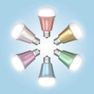 LED電球のカラーバリエーションの写真素材 [FYI04647430]