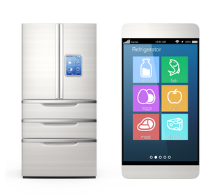 スマートフォンで冷蔵庫の中身をチェックの写真素材 [FYI04647439]