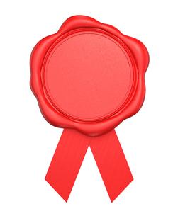 赤色のワックスシールの写真素材 [FYI04647448]