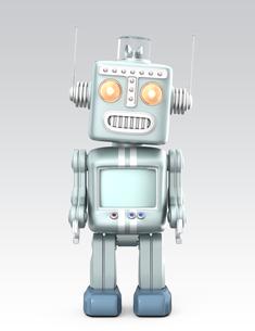かわいいレトロロボットが考えるの写真素材 [FYI04647456]