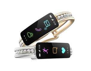 ダイヤの装飾があるスマートバンド、女性向けデジタルアクセサリーのコンセプトの写真素材 [FYI04647471]