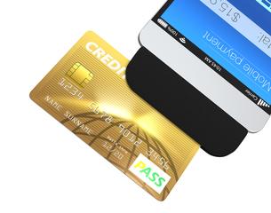 スマホ用クレジットカードのアダプタによるモバイル決済のコンセプトの写真素材 [FYI04647479]