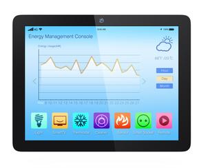 スマートホームエネルギー管理タブレットアプリの写真素材 [FYI04647497]