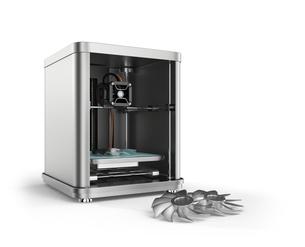 3Dプリンタで金属のスクリューパースを造形するの写真素材 [FYI04647502]