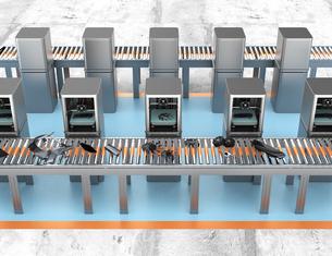 2Dプリンタ工場で自動車のパーツを生産するコンセプトの写真素材 [FYI04647508]
